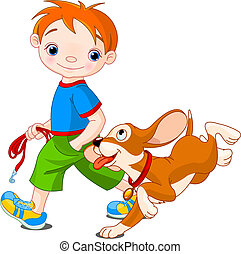 Boy walking a dog - Illustration of cute Boy walk the dog