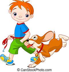 Boy walking a dog - Illustration of cute Boy walk the dog