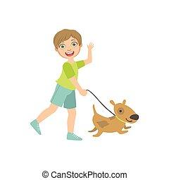 Boy Walking A Dog On The Leash