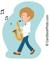 boy walking and playing saxophone cartoon