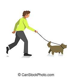 Boy walking dog colorful full length illustration in flat design