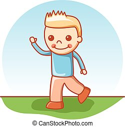 Boy walking doodle cartoon vector