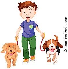 Boy walking two dogs