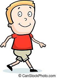 Boy Walking - A happy cartoon boy walking and smiling.