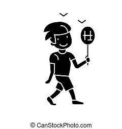 boy walking with candy  icon, vector illustration, sign on isolated background