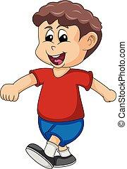boy walks with a smile cartoon vector illustration