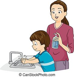 Boy Washing Hands - Illustration Featuring a Boy Washing His...
