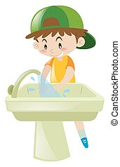 Boy washing hands in sink illustration