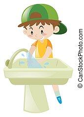 Boy washing hands in sink