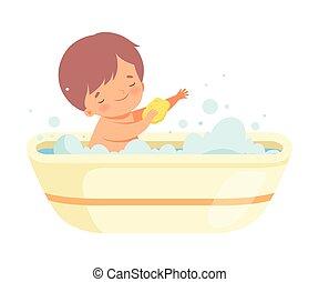 Boy Washing Himself with Sponge in Bathtub Full of Foam, Adorable Little Kid in Bathroom, Daily Hygiene Vector Illustration on White Background.