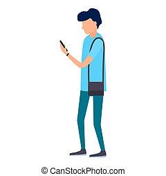 Boy watch smartphone icon, flat style