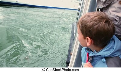 Boy watches on huge cruiser from which they float away on fiord