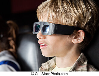 Boy Watching 3D Movie In Theater