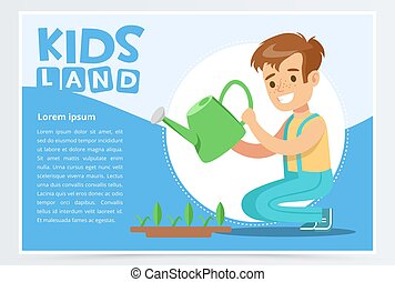 Boy watering plants with a watering can, eco concept, organic gardening, kids land banner flat vector element for website or mobile app