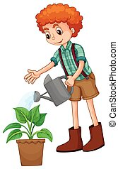 Boy watering the plant