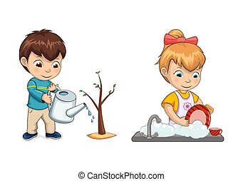 Boy Waters Tree Sprout and Girl Washes Dishes