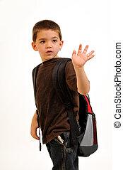 Boy waving goodbye