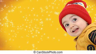 Boy w/Clipping Path - Happy boy against a yellow snowflake ...