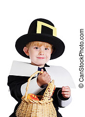 Boy wearing a Pilgrim Costume