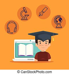 boy wearing cap graduation and laptop with digital book...