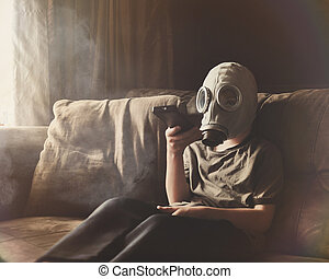 Boy Wearing Gas Mask for Clean Air in Home - A young child ...