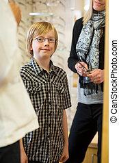 Boy Wearing Glasses In Store