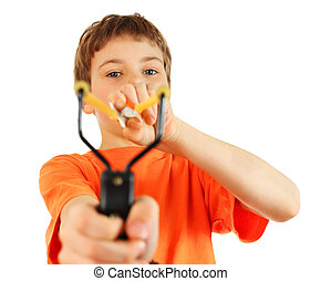 Boy wearing in orange t-shirt with slingshot aim to camera isolated on white background