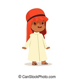 Boy wearing in white dress and red muslim headdress, national costume of Saudi Arabia colorful character vector Illustration