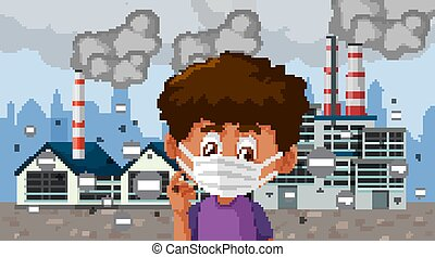 Boy wearing mask standing in front of factory buildings