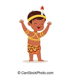 Boy wearing national costume of Africa colorful character vector Illustration