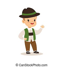 Boy wearing national costume of Germany colorful character vector Illustration