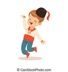 Boy wearing national costume of of Ukraine dancing, colorful character vector Illustration