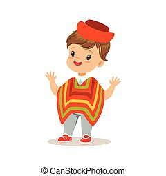 Boy wearing national costume of Peru colorful character vector Illustration