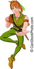 Boy Wearing Peter Pan Costume - Boy wearing Peter Pan...