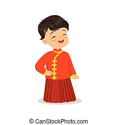 Boy wearing red national costume of China colorful character vector Illustration
