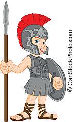 boy wearing roman soldier costume illustration