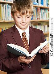 Boy Wearing School Uniform Reading Book In Library