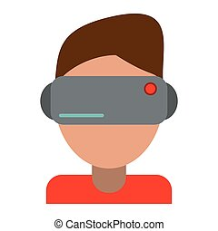 boy wearing vr goggles vector illustration eps 10
