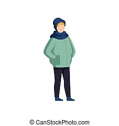Boy wearing winter clothes vector Illustration on a white background