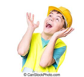 Boy wearing yellow hard hat
