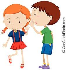 Boy whispering to the girl illustration