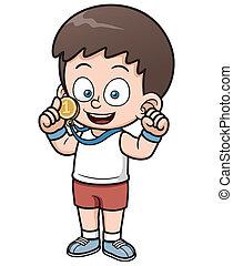 Boy winner - Vector illustration of Boy winner