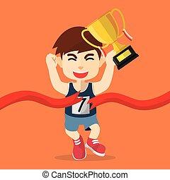 boy winning running marathon