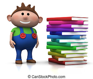 boy wit stack of books - cute brownhaired boy standing...