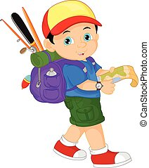 boy with a backpack and holding a - vector illustration of...