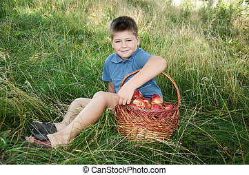 Boy with a basket of red apples in