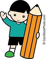 Boy with a big pencil