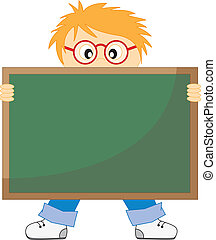 boy with a blackboard
