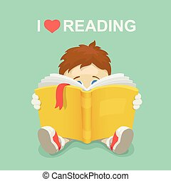 Boy with a book. I love reading.  Vector illustration