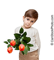 boy with a bouquet of flowers isolated on white background.